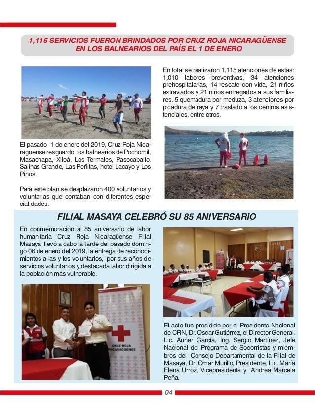 El pasado 1 de enero del 2019, Cruz Roja Nica- raguense resguardo los balnearios de Pochomil, Masachapa, Xiloá, Los Termal...