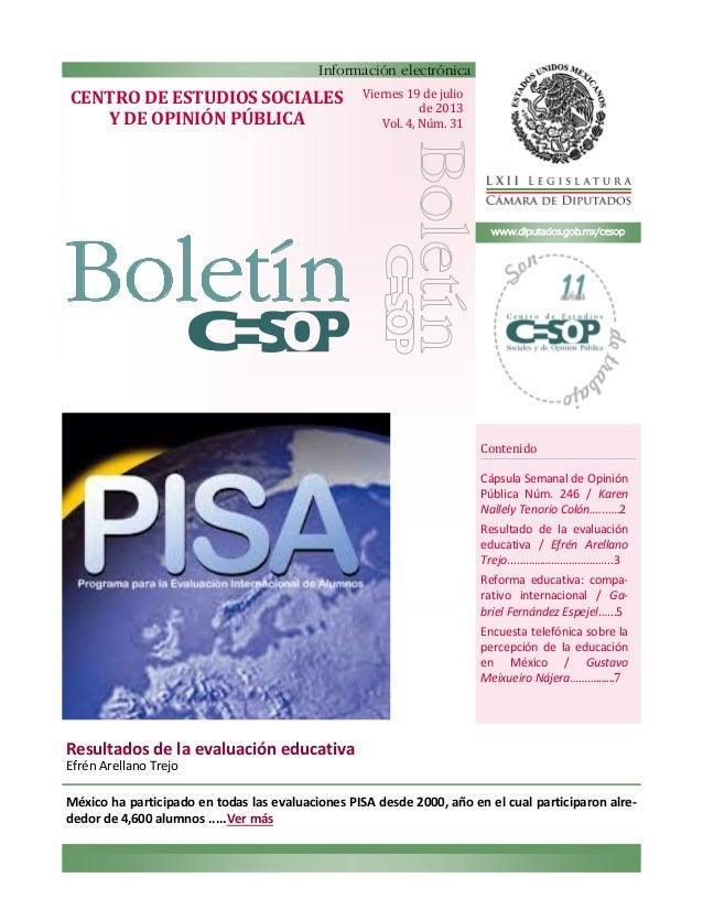 Contenido  Cápsula Semanal de Opinión  Pública Núm. 246 / Karen  Nallely Tenorio Colón…...….2  Resultado de la evaluación ...