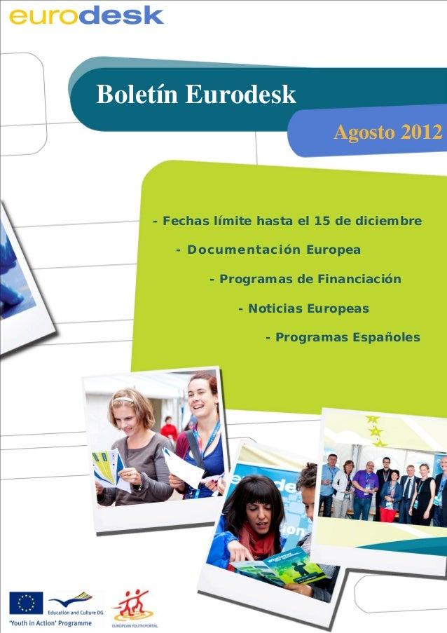 Boletín informativo Eurodesk                                            Octubre de 2011       Boletín Eurodesk            ...