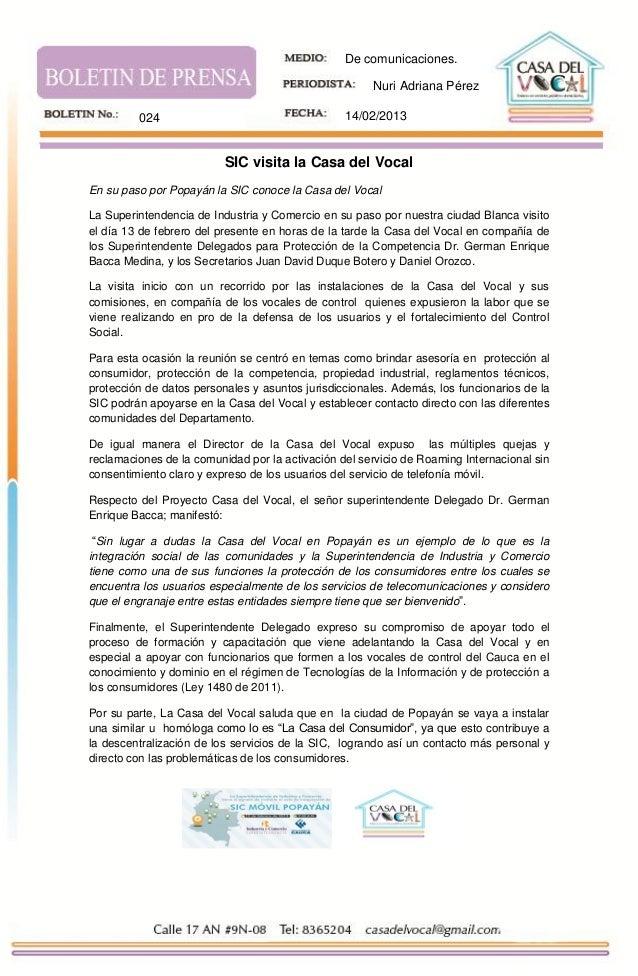 De comunicaciones.                                                      Nuri Adriana Pérez         024                    ...