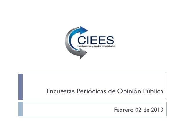 Encuestas Periódicas de Opinión Pública                      Febrero 02 de 2013