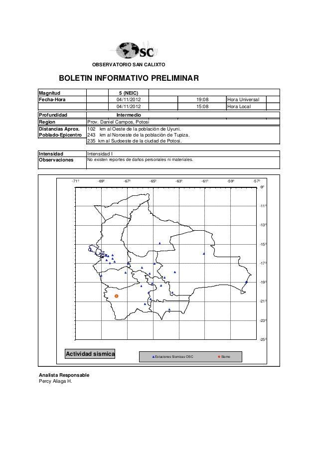 OBSERVATORIO SAN CALIXTO       BOLETIN INFORMATIVO PRELIMINARMagnitud                              5 (NEIC)Fecha-Hora     ...
