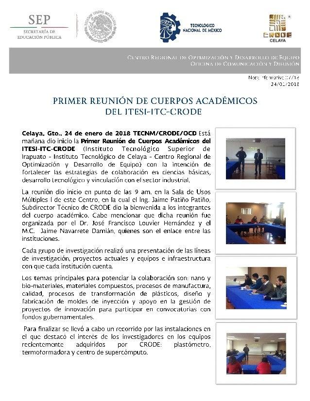 Boletín 07 primer reunión de cuerpos académicos