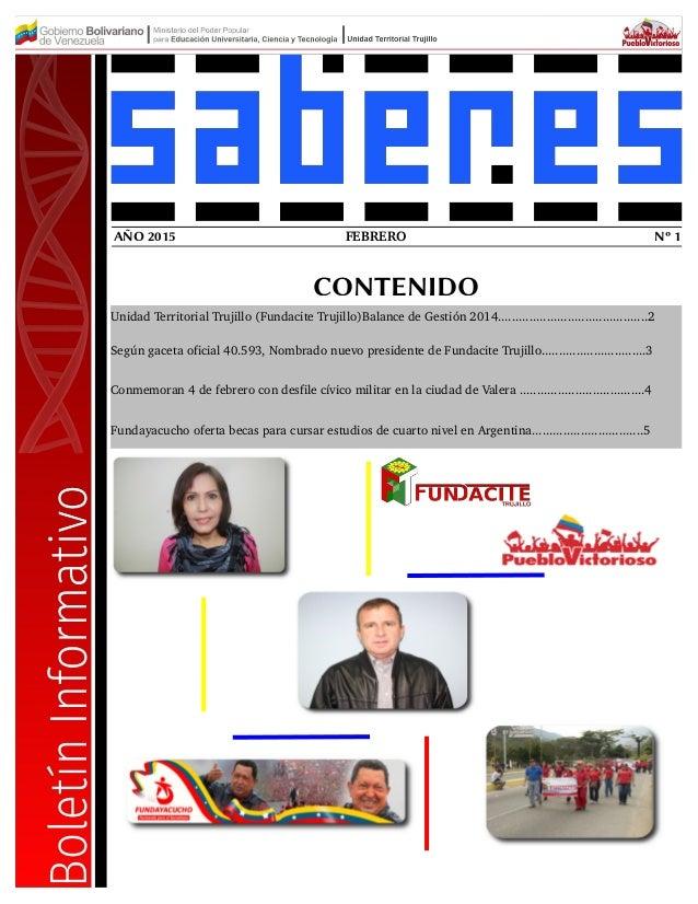 FEBRERO Nº 1AÑO 2015 CONTENIDO Unidad Territorial Trujillo (Fundacite Trujillo)Balance de Gestión 2014.......................