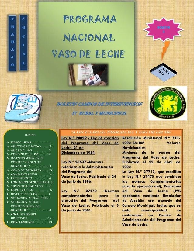 PROGRAMA NACIONAL VASO DE LECHE MARCO LEGAL: programa vaso de leche Ley N.º 24059 - Ley de creación del Programa del Vaso ...