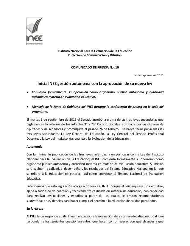 Instituto Nacional para la Evaluación de la Educación Dirección de Comunicación y Difusión COMUNICADO DE PRENSA No. 10 4 d...