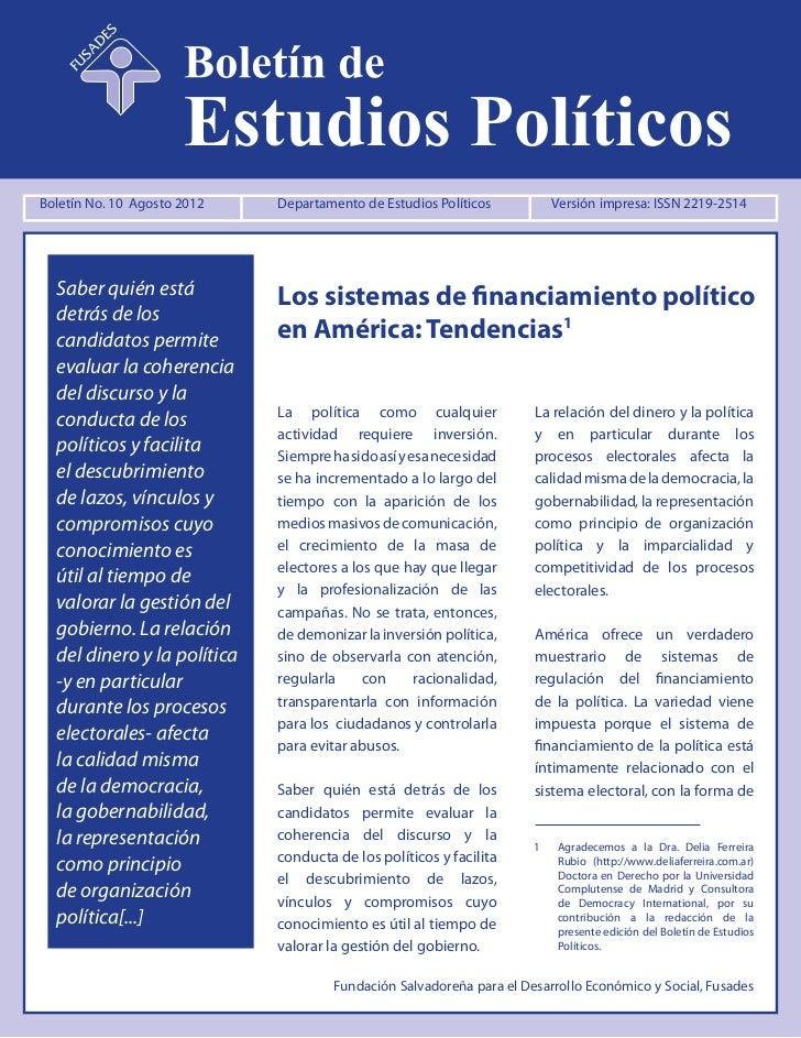Boletín No. 10 Agosto 2012        Departamento de Estudios Políticos                            dep@fusades.orgBoletín No....