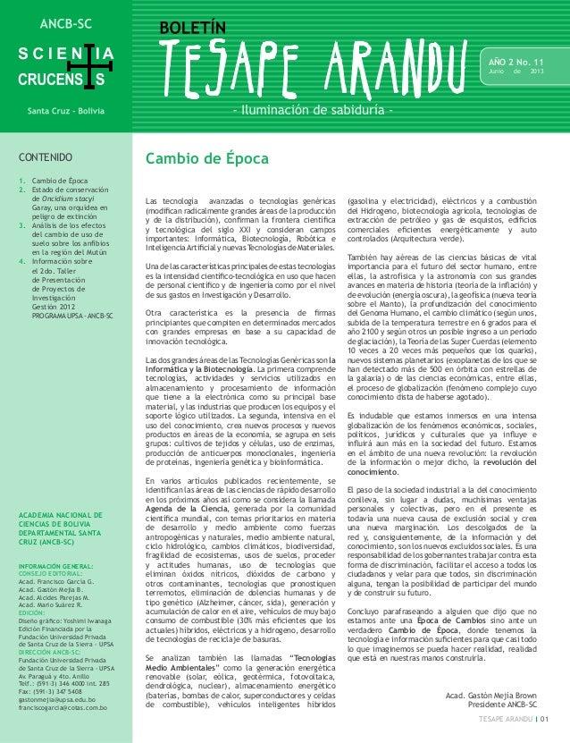 01TESAPE ARANDU AÑO 2 No. 11 Junio de 2013 CONTENIDO 1. Cambio de Época 2.  Estado de conservación de Oncidium stacyi Ga...