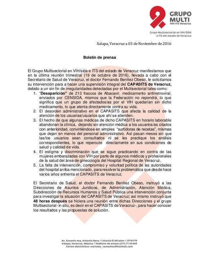 Xalapa, Veracruz a 03 de Noviembre de 2016 Boletín de prensa El Grupo Multisectorial en VIH/sida e ITS del estado de Verac...