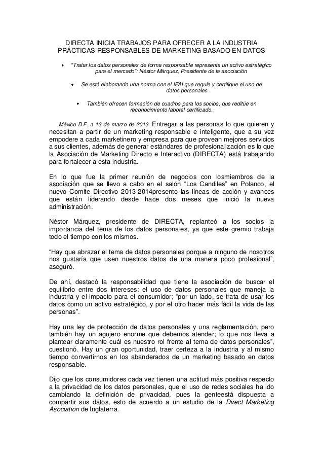 """DIRECTA INICIA TRABAJOS PARA OFRECER A LA INDUSTRIA PRÁCTICAS RESPONSABLES DE MARKETING BASADO EN DATOS """"Tratar los datos ..."""