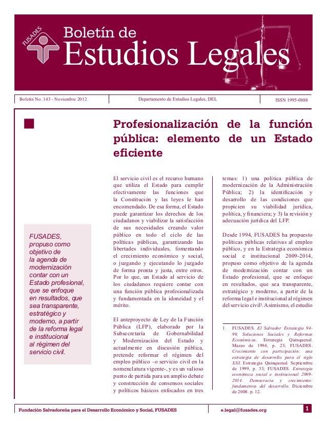 Boletín No. 143 - Noviembre 2012                                   Profesionalización de la función                       ...
