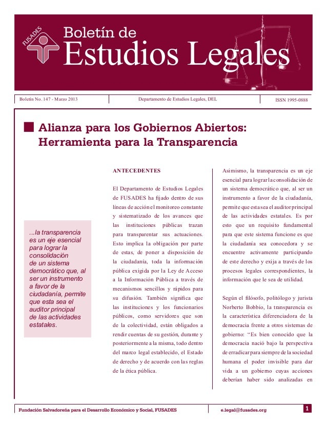 Boletín No. 147 - Marzo 2013         Alianza para los Gobiernos Abiertos:         Herramienta para la Transparencia       ...
