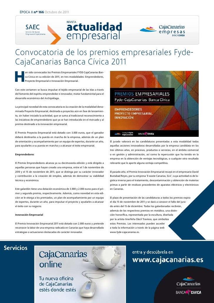 ÉPOCA II nº 166 Octubre de 2011Convocatoria de los premios empresariales Fyde-CajaCanarias Banca Cívica 2011H        an si...