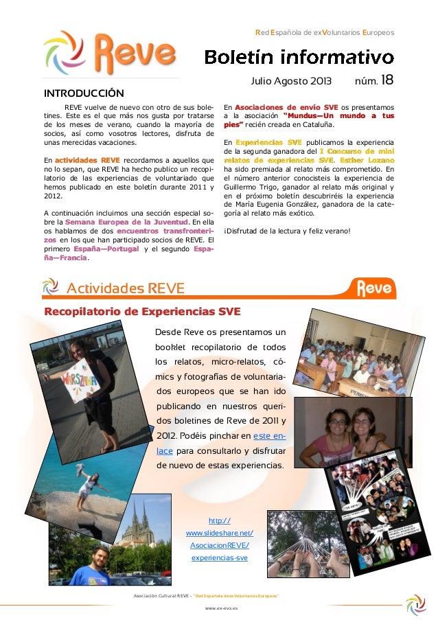 """Asociación Cultural REVE - """"Red Española de exVoluntarios Europeos"""" www.ex-evs.es Red Española de exVoluntarios Europeos J..."""