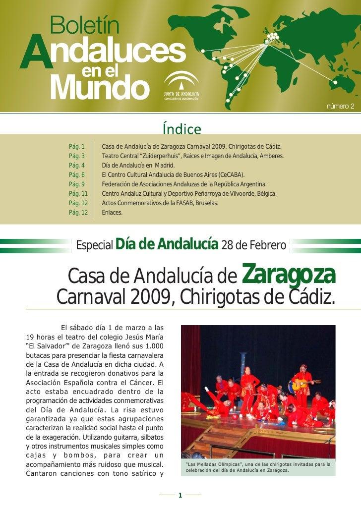 """Pág. 1      Casa de Andalucía de Zaragoza Carnaval 2009, Chirigotas de Cádiz.               Pág. 3      Teatro Central """"Zu..."""