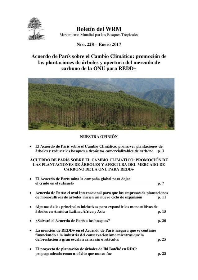 Boletín del WRM Movimiento Mundial por los Bosques Tropicales Nro. 228 – Enero 2017 Acuerdo de París sobre el Cambio Climá...