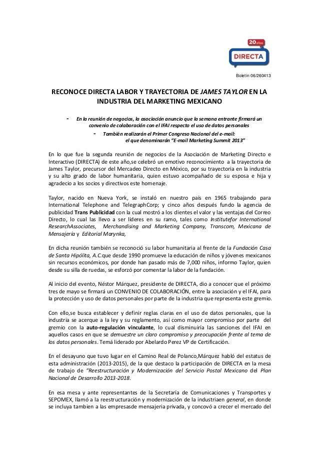 Boletín 06/260413 RECONOCE DIRECTA LABOR Y TRAYECTORIA DE JAMES TAYLOR EN LA INDUSTRIA DEL MARKETING MEXICANO - En la reun...
