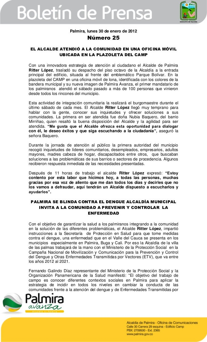 Palmira, lunes 30 de enero de 2012                                Número 25EL ALCALDE ATENDIÓ A LA COMUNIDAD EN UNA OFICIN...