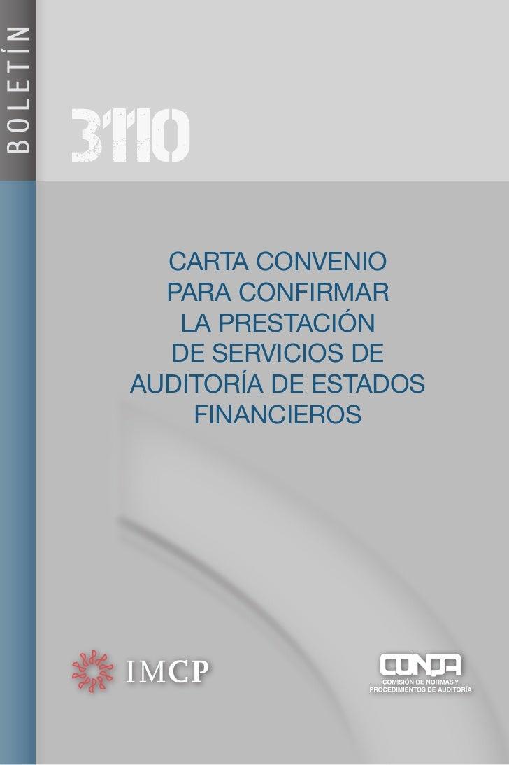 BOLETÍN          3110             CARTA CONVENIO             PARA CONFIRMAR              LA PRESTACIÓN             DE SERV...