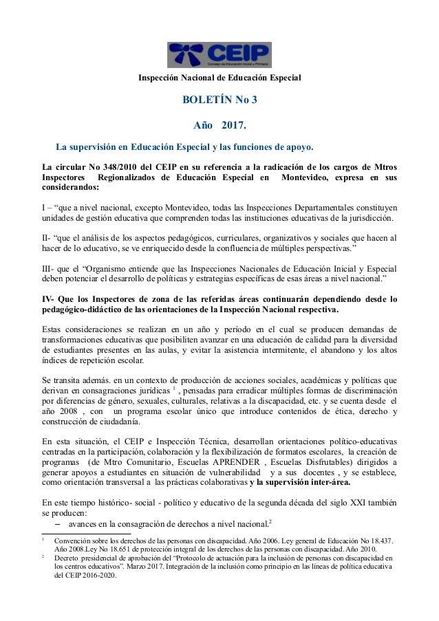 Inspección Nacional de Educación Especial BOLETÍN No 3 Año 2017. La supervisión en Educación Especial y las funciones de a...