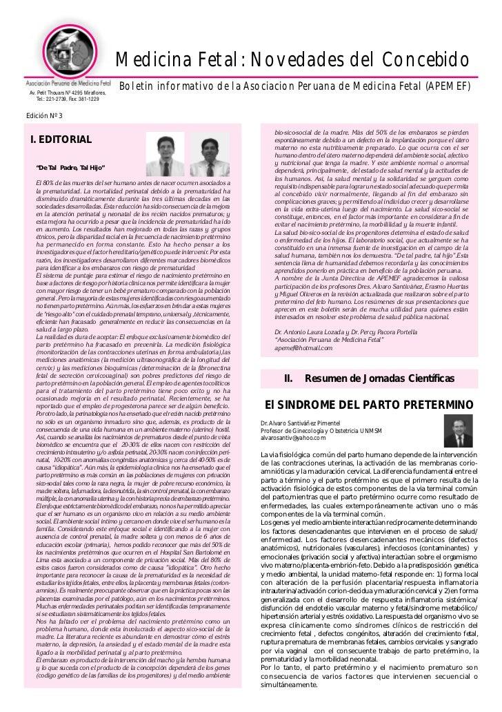 Medicina Fetal: Novedades del Concebido Av. Petit Thouars Nº 4295 Miraflores,                                         Bole...