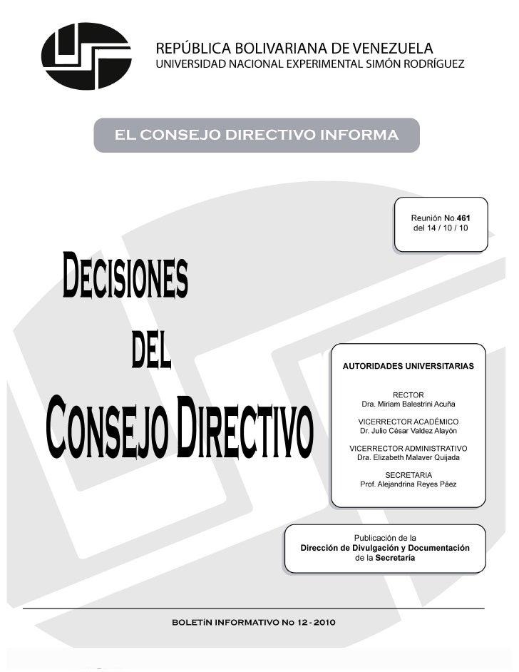 EL CONSEJO DIRECTIVO INFORMA– REUNIÓN Nº 461                                                                          INGR...