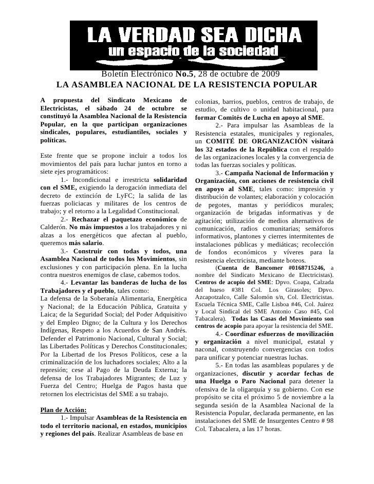 Boletín Electrónico No.5, 28 de octubre de 2009      LA ASAMBLEA NACIONAL DE LA RESISTENCIA POPULAR A propuesta del Sindic...