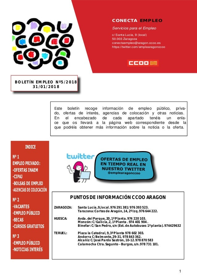 Boletin Conecta Empleo nº 5 de 31/01/2018