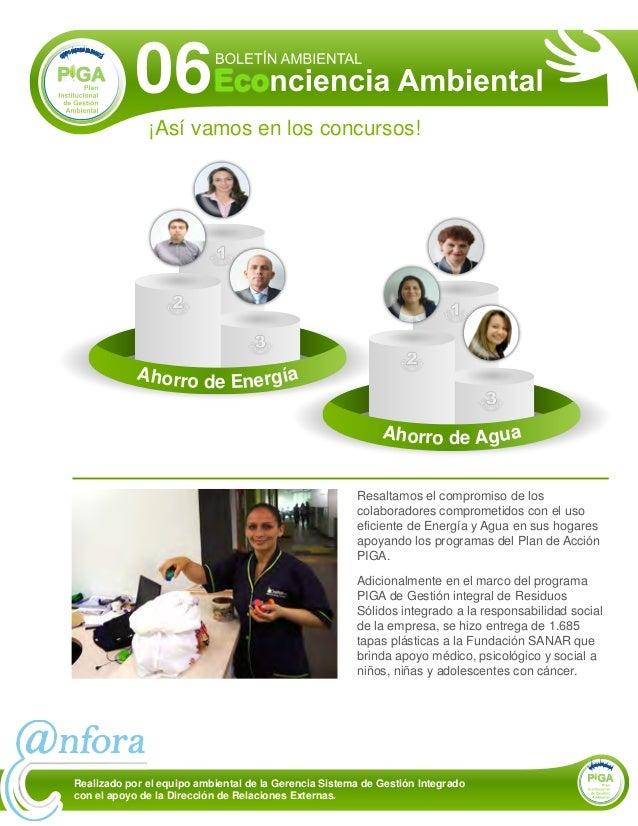 ¡Así vamos en los concursos! 06 Resaltamos el compromiso de los colaboradores comprometidos con el uso eficiente de Energí...