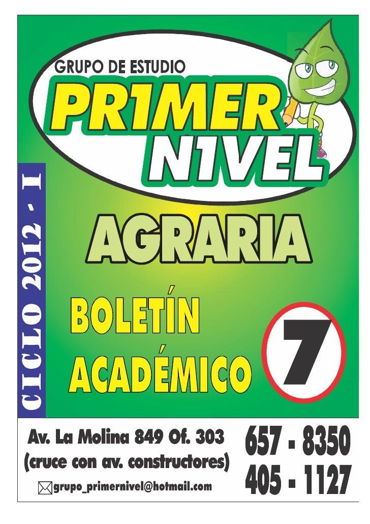 Grupo de Estudio PRIMER NIVEL                                           Preparacion Exclusiva AGRARIA                     ...