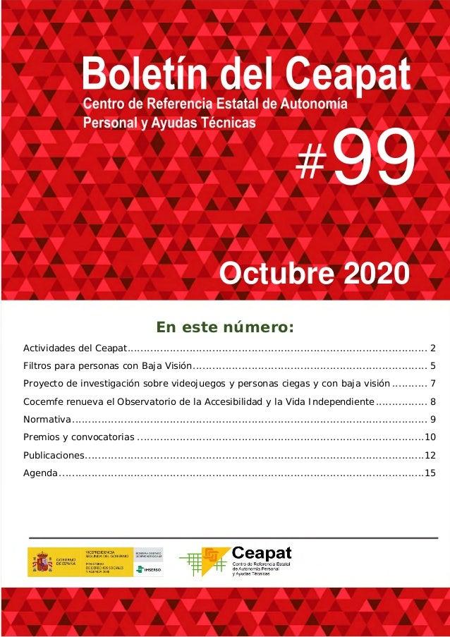99 Octubre 2020 En este número: Actividades del Ceapat.......................................................................