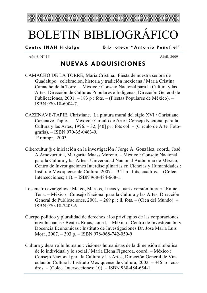 """BOLETIN BIBLIOGRÁFICO Centro INAH Hidalgo                     Biblioteca """"Antonio Peñafiel""""  Año 6, N° 16                 ..."""
