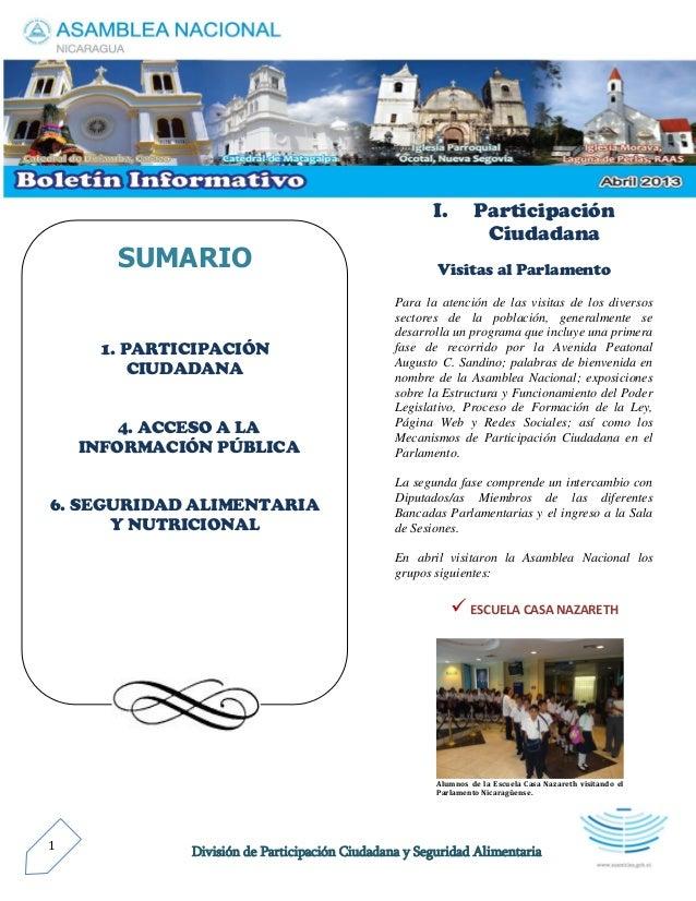 División de Participación Ciudadana y Seguridad Alimentaria1 I. Participación Ciudadana Visitas al Parlamento Para la aten...