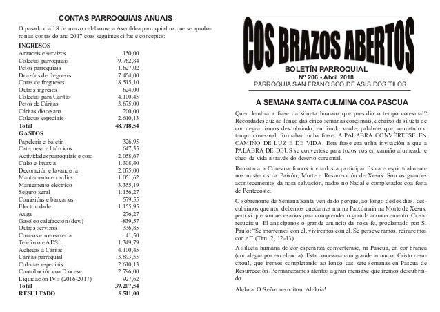 BOLETÍN PARROQUIAL Nº 206 - Abril 2018 PARROQUIA SAN FRANCISCO DE ASÍS DOS TILOS A SEMANA SANTA CULMINA COA PASCUA Quen le...