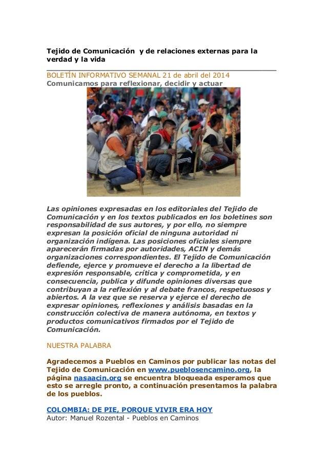 Boletin 21 abril 2014 del Tejido de Comunicación y de relaciones ext…