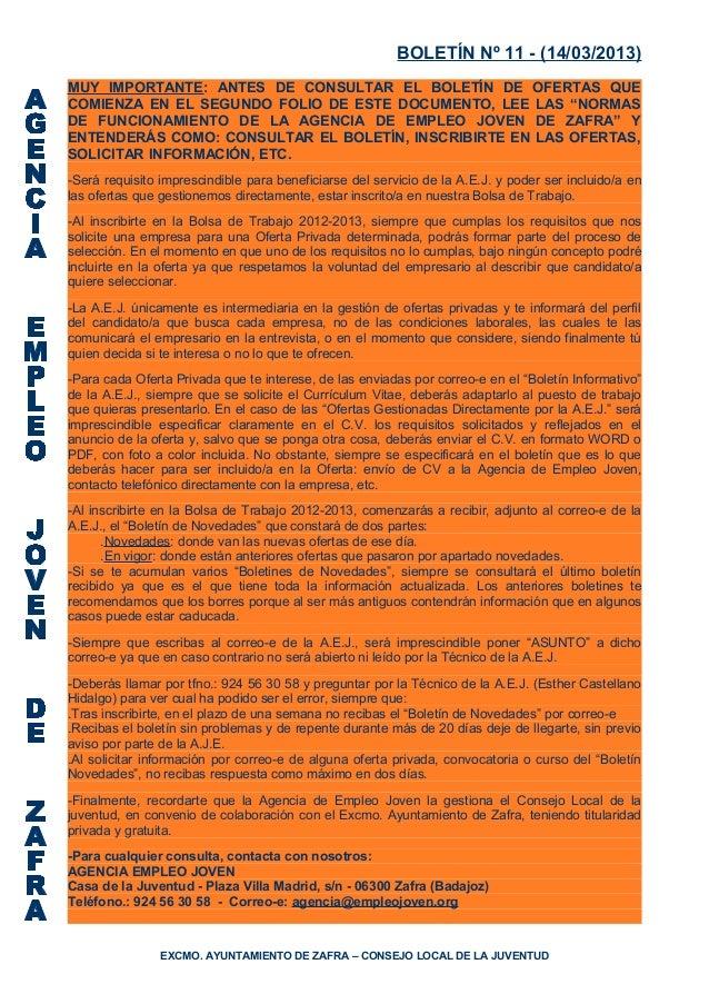 BOLETÍN Nº 11 - (14/03/2013)MUY IMPORTANTE: ANTES DE CONSULTAR EL BOLETÍN DE OFERTAS QUECOMIENZA EN EL SEGUNDO FOLIO DE ES...