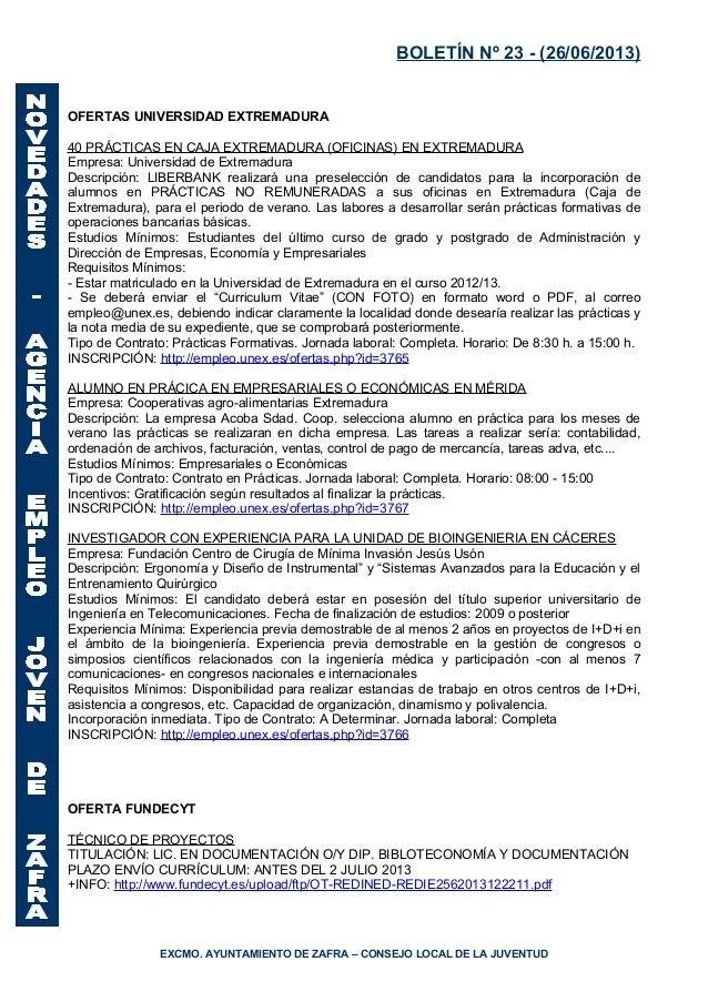 Boletin 26 junio 2013 for Oficinas caja extremadura
