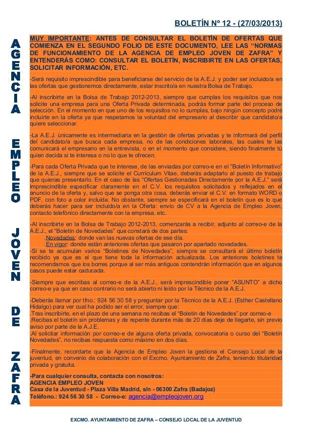 BOLETÍN Nº 12 - (27/03/2013)MUY IMPORTANTE: ANTES DE CONSULTAR EL BOLETÍN DE OFERTAS QUECOMIENZA EN EL SEGUNDO FOLIO DE ES...