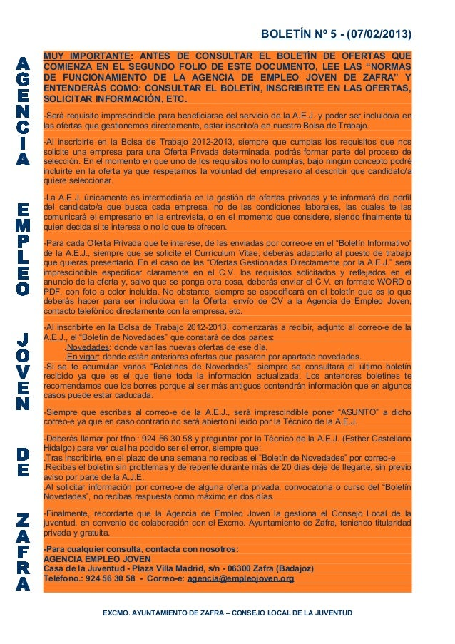 BOLETÍN Nº 5 - (07/02/2013)MUY IMPORTANTE: ANTES DE CONSULTAR EL BOLETÍN DE OFERTAS QUECOMIENZA EN EL SEGUNDO FOLIO DE EST...