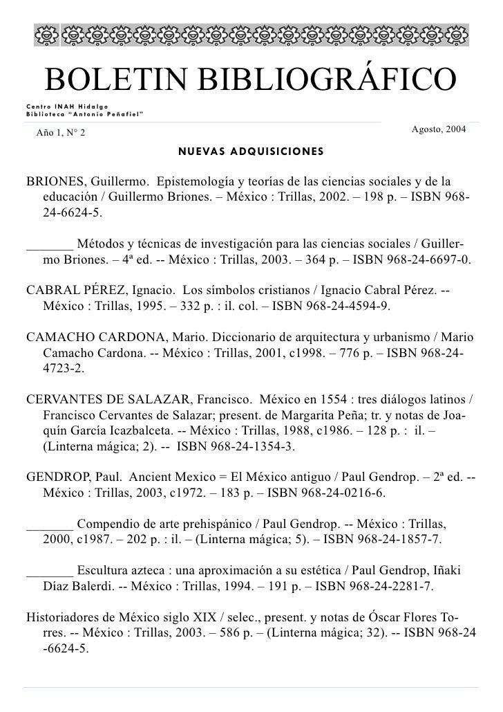 """BOLETIN BIBLIOGRÁFICO Centro INAH Hidalgo Biblioteca """"Antonio Peñafiel""""    Año 1, N° 2                                    ..."""
