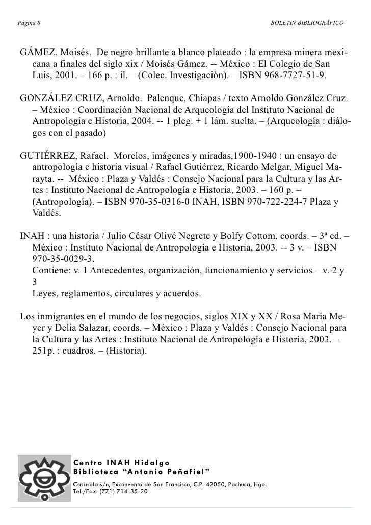 Página 8                                                                            BOLETIN BIBLIOGRÁFICO    GÁMEZ, Moisés...