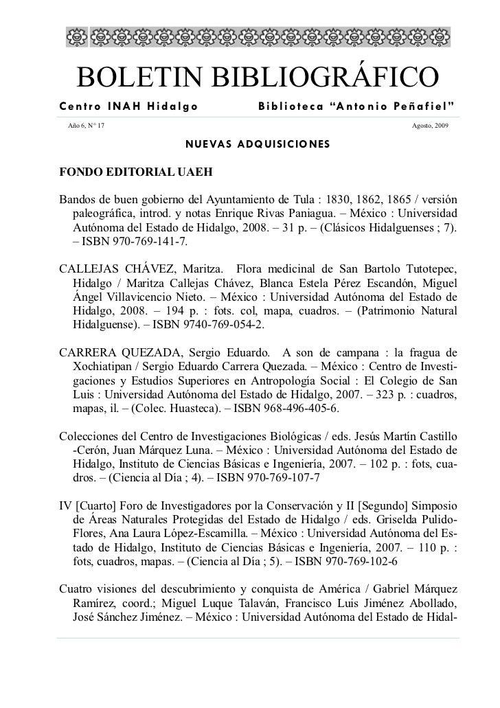 """BOLETIN BIBLIOGRÁFICO Centro INAH Hidalgo                     B i b l i o t e c a """"A n t o n i o Pe ñ a f i e l """"  Año 6, ..."""