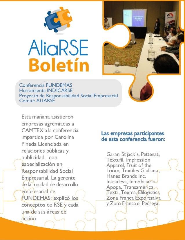 BoletínConferencia FUNDEMASHerramienta INDICARSEProyecto de Responsabilidad Social EmpresarialComité ALIARSE Esta mañana a...