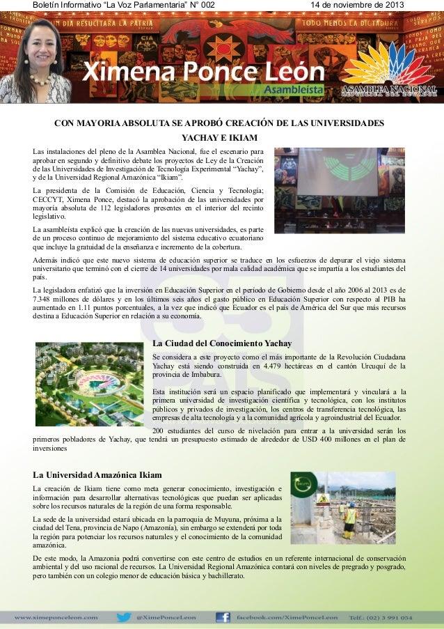 """Boletín Informativo """"La Voz Parlamentaria"""" N° 002  14 de noviembre de 2013  CON MAYORIA ABSOLUTA SE APROBÓ CREACIÓN DE LAS..."""