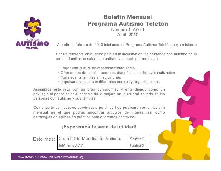 Boletín Mensual                                 Programa Autismo Teletón                                               Núm...