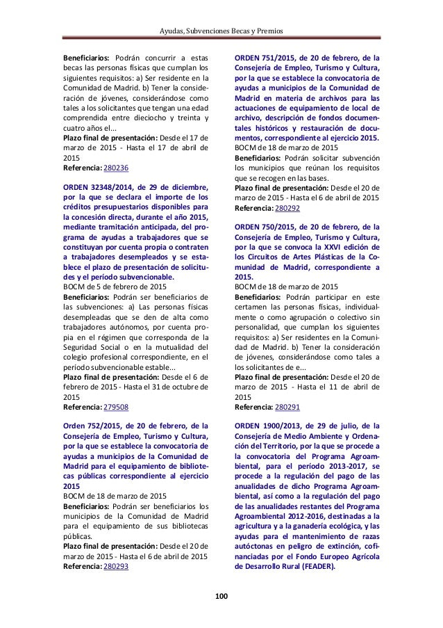 Ayudas, subvenciones, becas y premios LÍNEAS DE AYUDA - Semana 14/2015