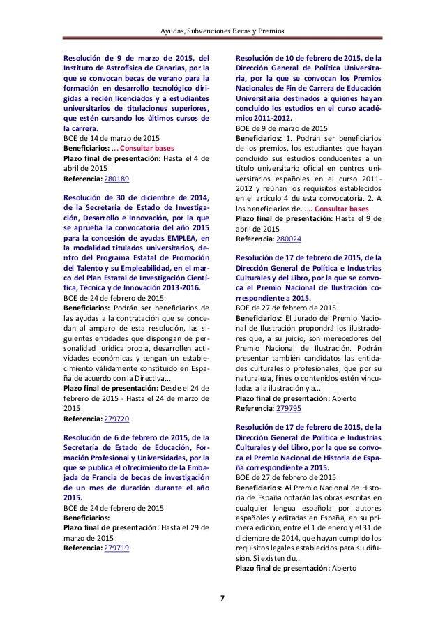 Ayudas, Subvenciones Becas y Premios 7 Resolución de 9 de marzo de 2015, del Instituto de Astrofísica de Canarias, por la ...