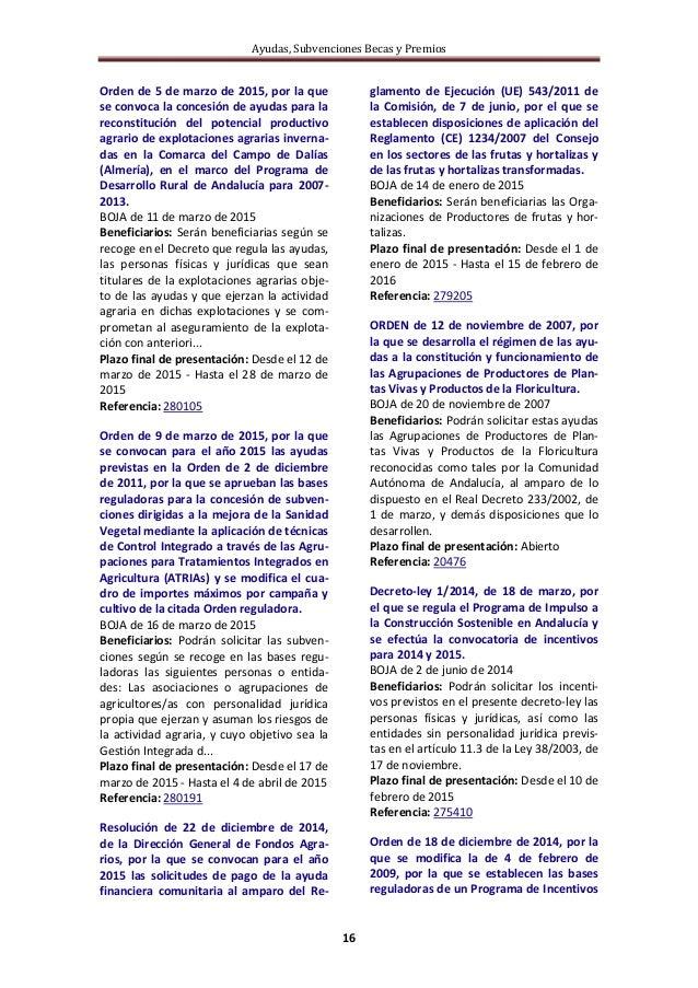 Ayudas, Subvenciones Becas y Premios 16 Orden de 5 de marzo de 2015, por la que se convoca la concesión de ayudas para la ...