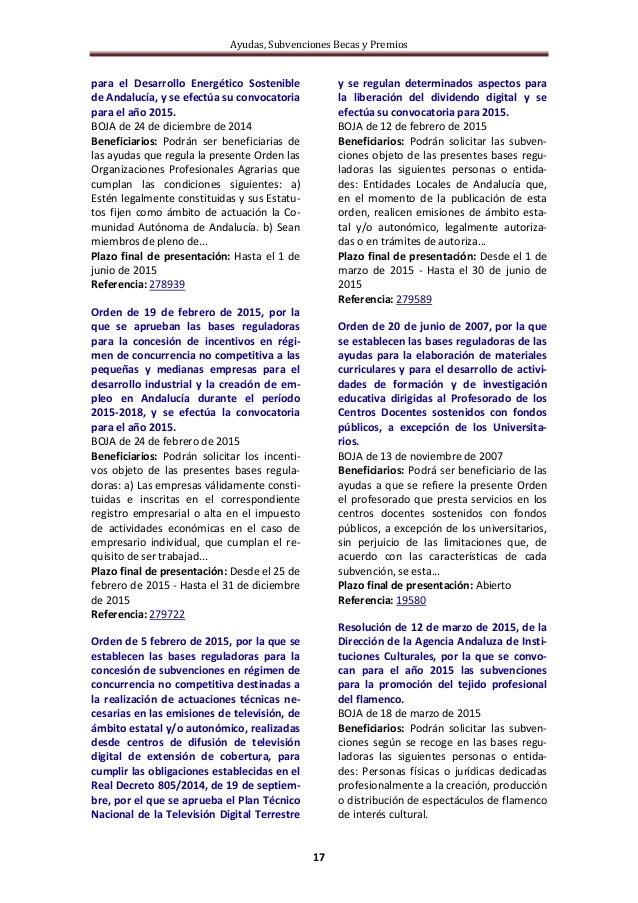 Ayudas, Subvenciones Becas y Premios 17 para el Desarrollo Energético Sostenible de Andalucía, y se efectúa su convocatori...