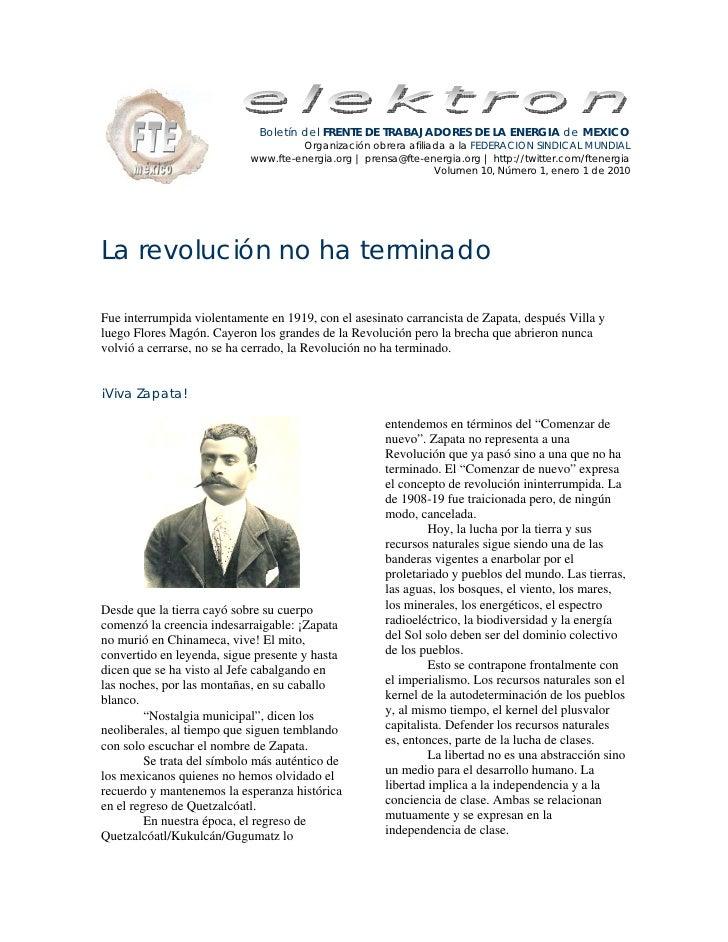 Boletín del FRENTE DE TRABAJADORES DE LA ENERGIA de MEXICO                                      Organización obrera afilia...